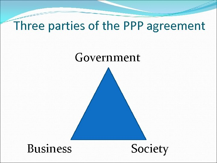 Three parties of the PPP agreement Government Business Society