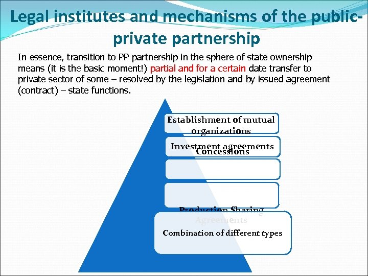 Legal institutes and mechanisms of the publicprivate partnership In essence, transition to PP partnership