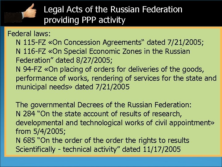 Legal Acts of the Russian Federation providing PPP activity Federal laws: N 115 -FZ