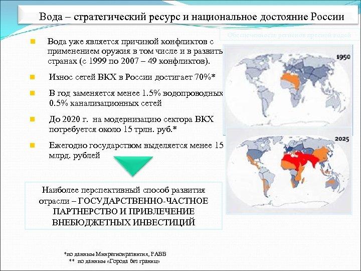 Вода – стратегический ресурс и национальное достояние России Обеспеченность регионов пресной водой n Вода