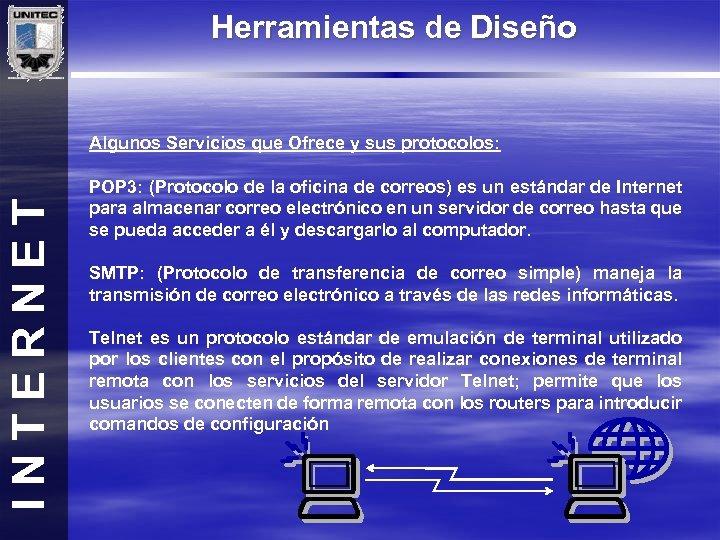 Herramientas de Diseño INTERNET Algunos Servicios que Ofrece y sus protocolos: POP 3: (Protocolo
