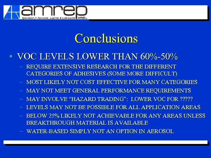Conclusions • VOC LEVELS LOWER THAN 60%-50% – REQUIRE EXTENSIVE RESEARCH FOR THE DIFFERENT