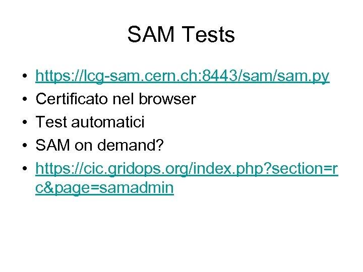 SAM Tests • • • https: //lcg-sam. cern. ch: 8443/sam. py Certificato nel browser