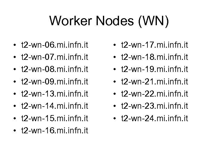 Worker Nodes (WN) • • t 2 -wn-06. mi. infn. it t 2 -wn-07.