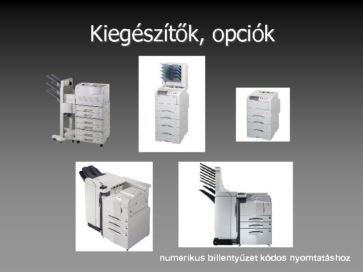 Kiegészítők, opciók numerikus billentyűzet kódos nyomtatáshoz