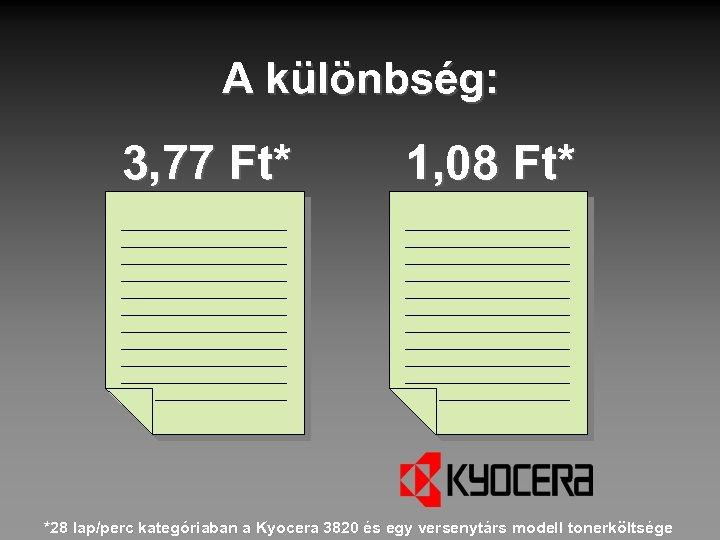 A különbség: 3, 77 Ft* 1, 08 Ft* *28 lap/perc kategóriaban a Kyocera 3820