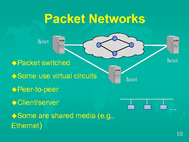 Packet Networks host u. Packet switched u. Some use virtual circuits host u. Peer-to-peer