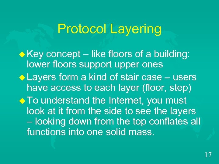 Protocol Layering u Key concept – like floors of a building: lower floors support