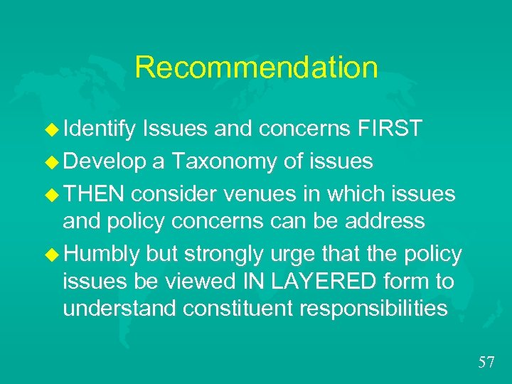 Recommendation u Identify Issues and concerns FIRST u Develop a Taxonomy of issues u