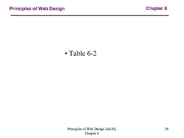 Chapter 6 Principles of Web Design • Table 6 -2 Principles of Web Design