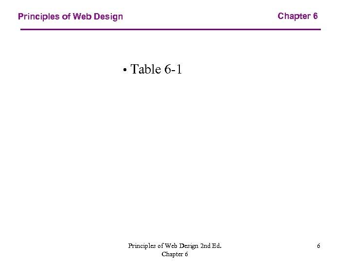 Chapter 6 Principles of Web Design • Table 6 -1 Principles of Web Design