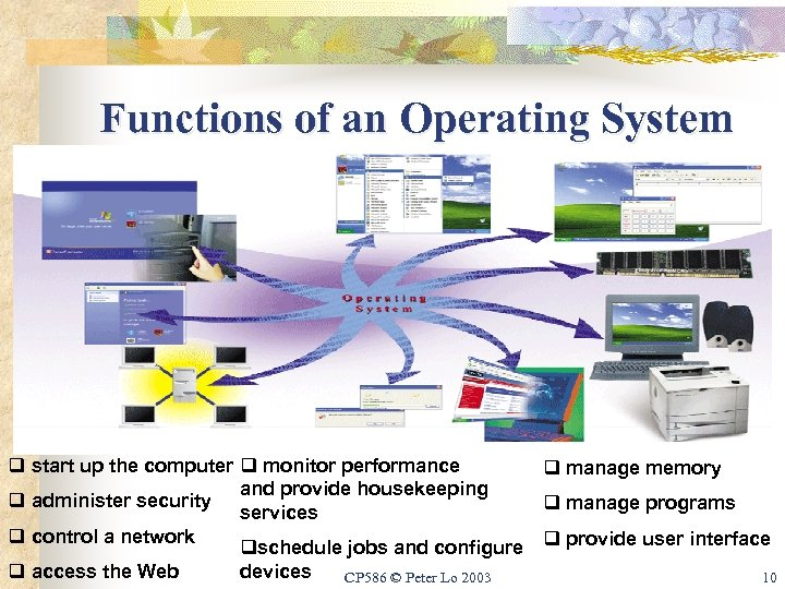 Functions of an Operating System q start up the computer q monitor performance q