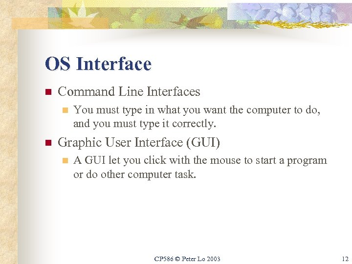 OS Interface n Command Line Interfaces n n You must type in what you