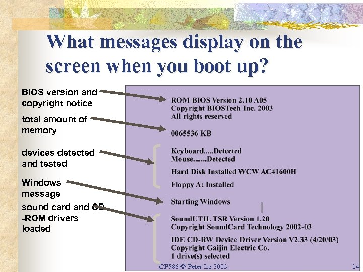 What messages display on the screen when you boot up? BIOS version and copyright