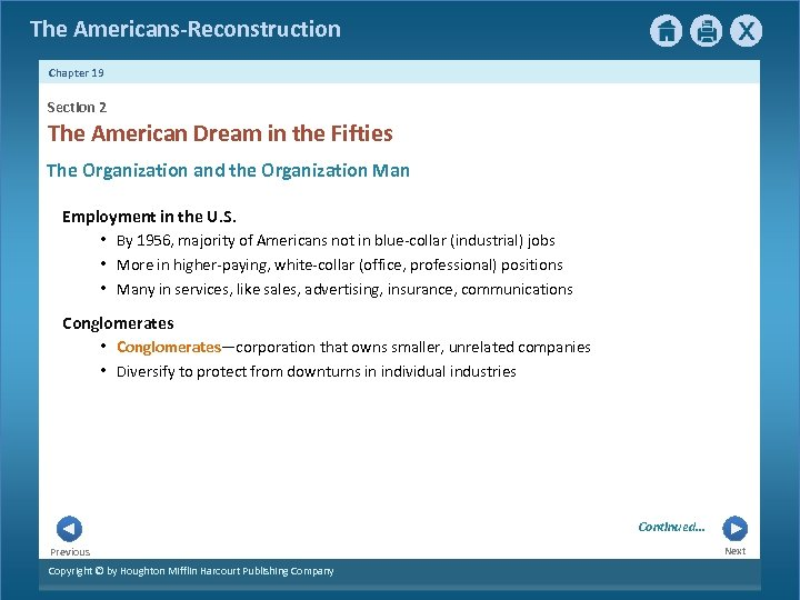 The Americans-Reconstruction Chapter 19 Section 2 The American Dream in the Fifties The Organization