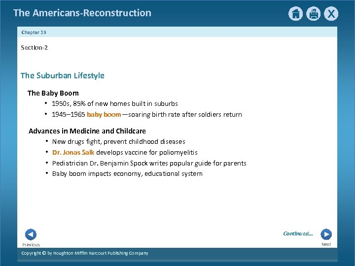 The Americans-Reconstruction Chapter 19 Section-2 The Suburban Lifestyle The Baby Boom • 1950 s,