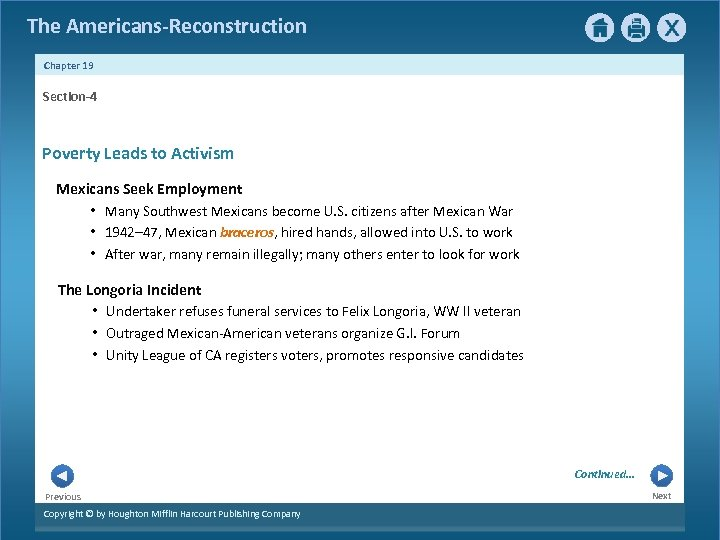 The Americans-Reconstruction Chapter 19 Section-4 Poverty Leads to Activism Mexicans Seek Employment • Many