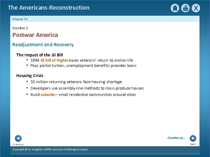 The Americans-Reconstruction Chapter 19 Section 1 Postwar America Readjustment and Recovery The Impact of