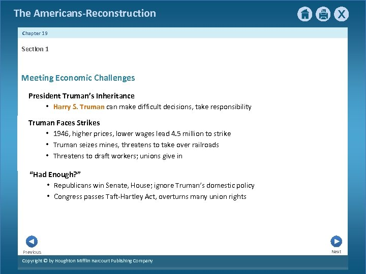 The Americans-Reconstruction Chapter 19 Section 1 Meeting Economic Challenges President Truman's Inheritance • Harry