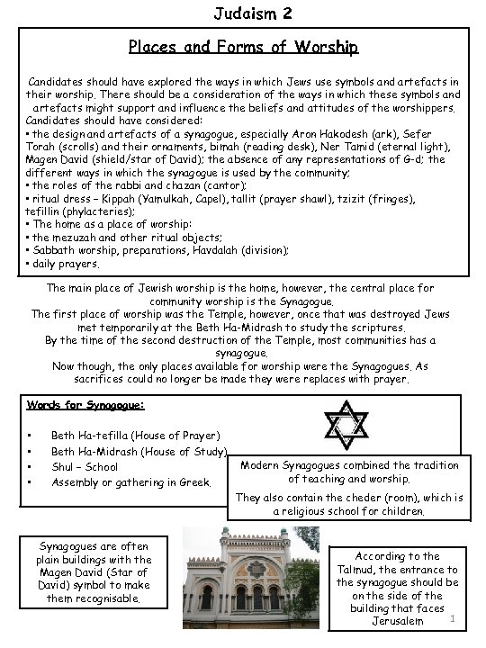 Judaism 2 Places and Forms of Worship Candidates should have explored the ways in
