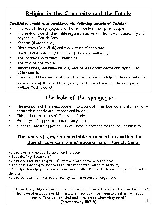 Religion in the Community and the Family Candidates should have considered the following aspects