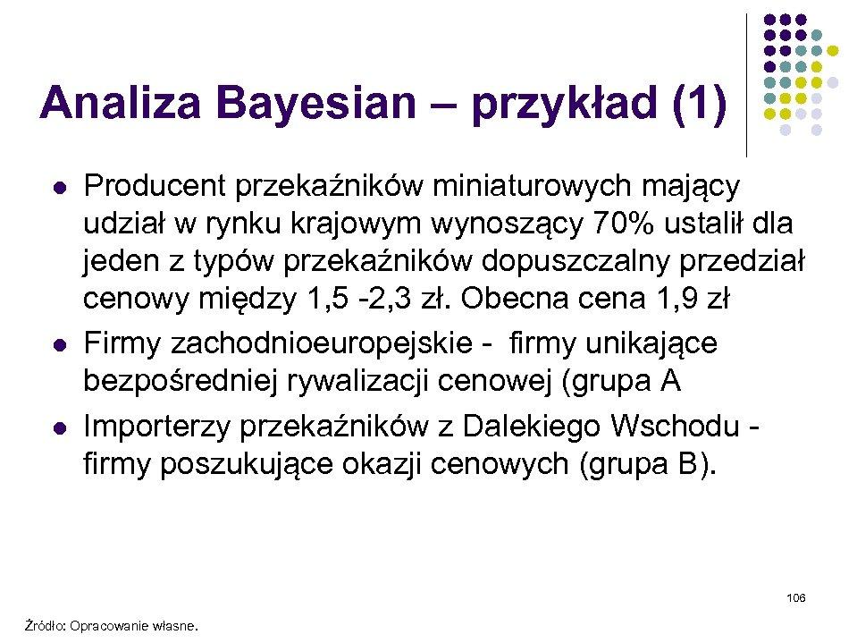 Analiza Bayesian – przykład (1) l l l Producent przekaźników miniaturowych mający udział w