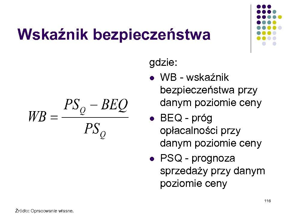 Wskaźnik bezpieczeństwa gdzie: l WB - wskaźnik bezpieczeństwa przy danym poziomie ceny l BEQ