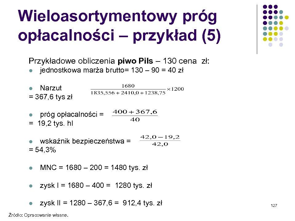 Wieloasortymentowy próg opłacalności – przykład (5) Przykładowe obliczenia piwo Pils – 130 cena zł: