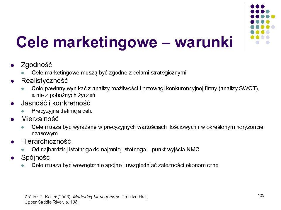 Cele marketingowe – warunki l Zgodność l l Realistyczność l l Cele muszą być