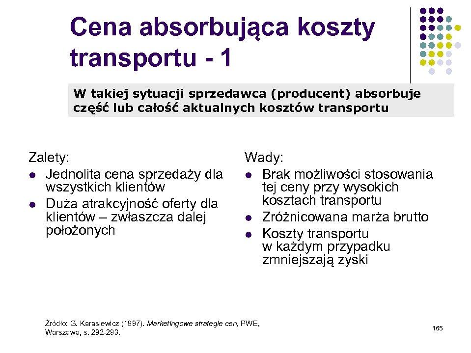 Cena absorbująca koszty transportu - 1 W takiej sytuacji sprzedawca (producent) absorbuje część lub