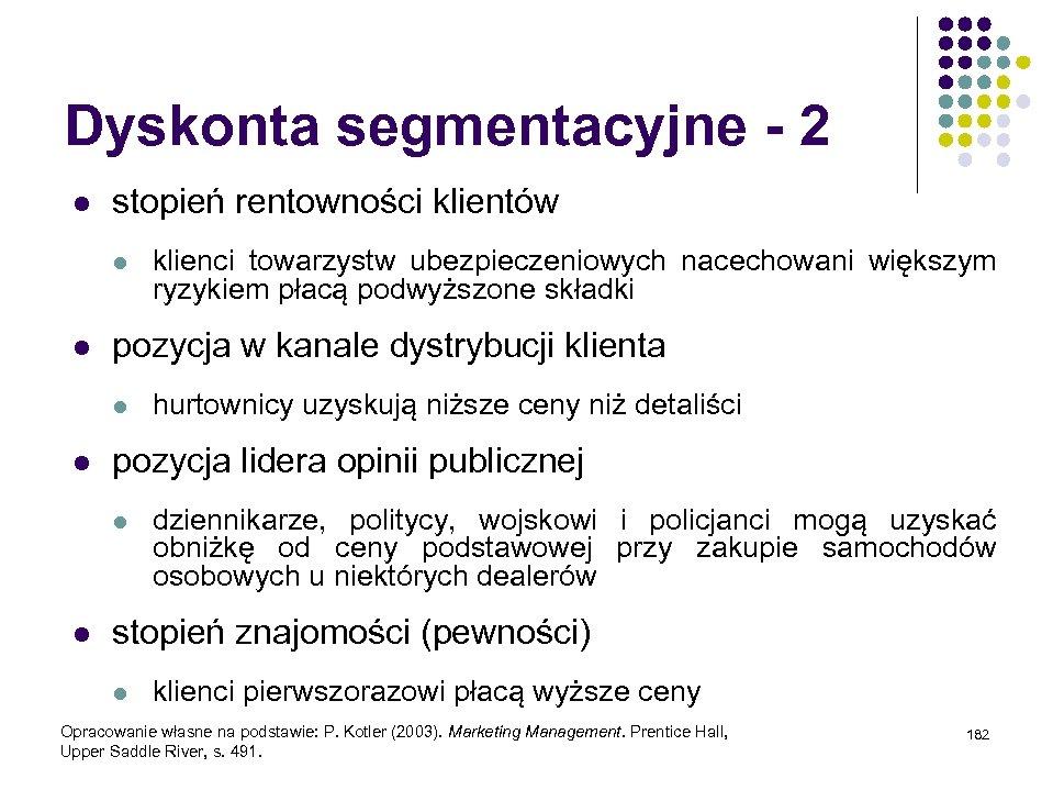 Dyskonta segmentacyjne - 2 l stopień rentowności klientów l l pozycja w kanale dystrybucji