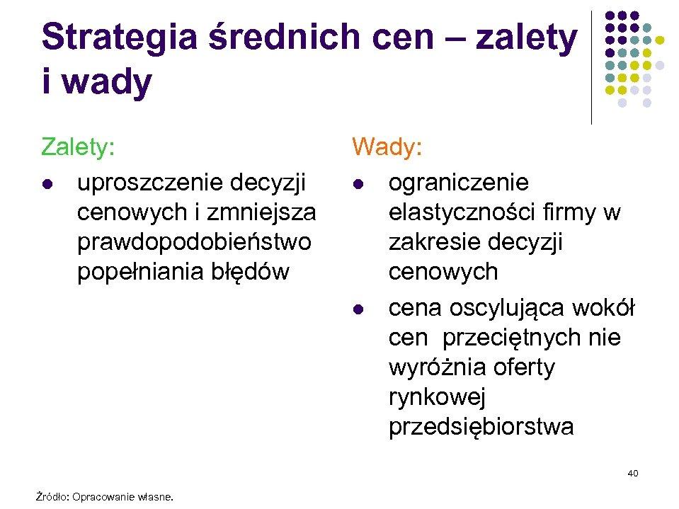 Strategia średnich cen – zalety i wady Zalety: l uproszczenie decyzji cenowych i zmniejsza