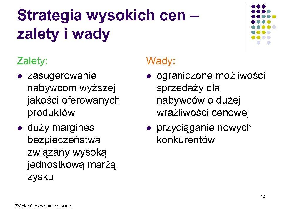 Strategia wysokich cen – zalety i wady Zalety: l zasugerowanie nabywcom wyższej jakości oferowanych