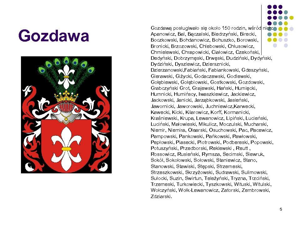 Gozdawa Gozdawą posługiwało się około 150 rodzin, wśród nich: Apanowicz, Bal, Bączalski, Biedrzyński, Birecki,