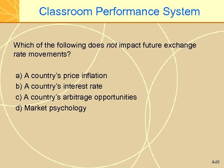 Classroom Performance System Which of the following does not impact future exchange rate movements?