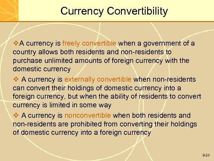 Currency Convertibility v. A currency is freely convertible when a government of a country