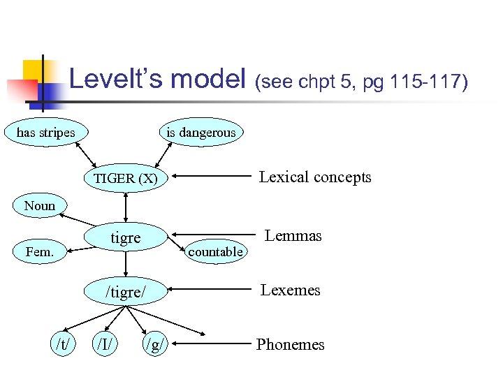 Levelt's model (see chpt 5, pg 115 -117) has stripes is dangerous Lexical concepts