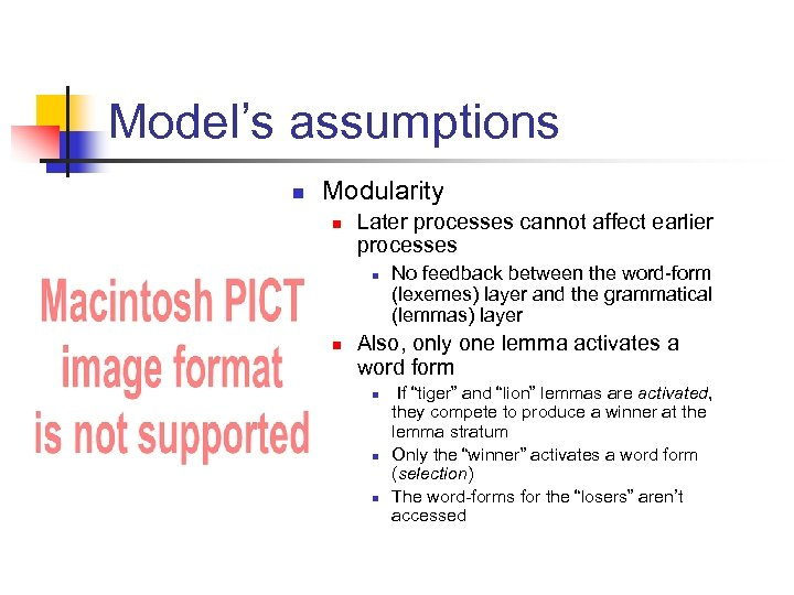 Model's assumptions n Modularity n Later processes cannot affect earlier processes n n No