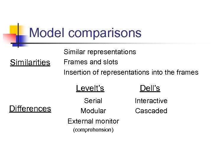 Model comparisons Similarities Similar representations Frames and slots Insertion of representations into the frames