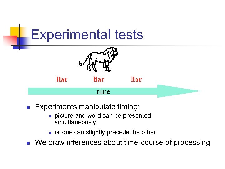 Experimental tests liar time n Experiments manipulate timing: n n n picture and word