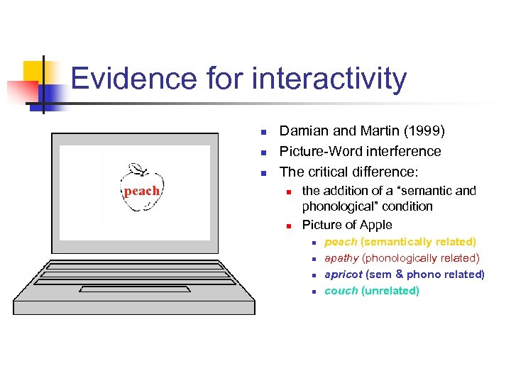 Evidence for interactivity n n n peach Damian and Martin (1999) Picture-Word interference The