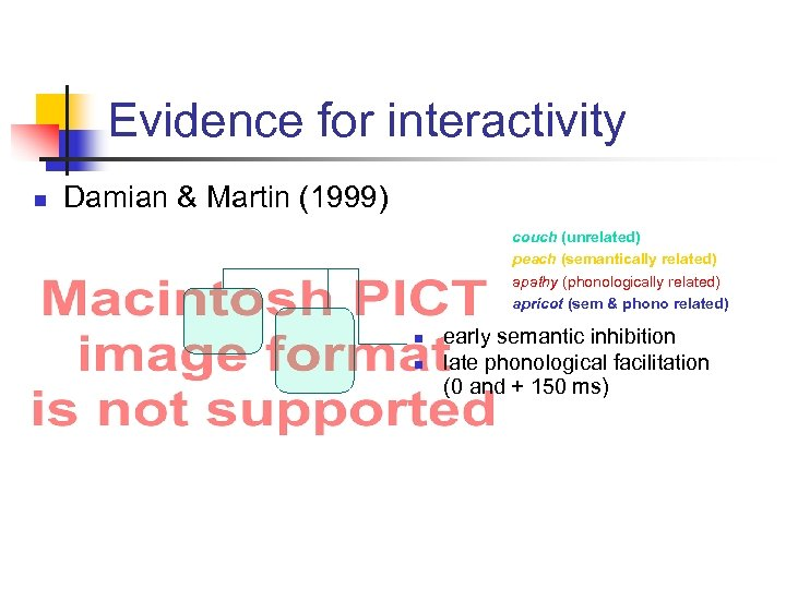 Evidence for interactivity n Damian & Martin (1999) couch (unrelated) peach (semantically related) apathy