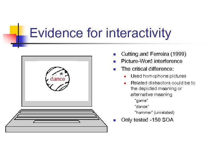 Evidence for interactivity n n n Cutting and Ferreira (1999) Picture-Word interference The critical