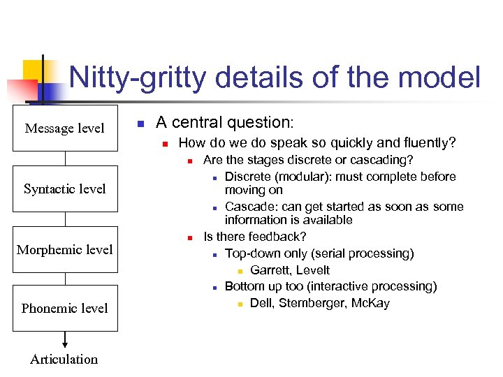 Nitty-gritty details of the model Message level n A central question: n How do