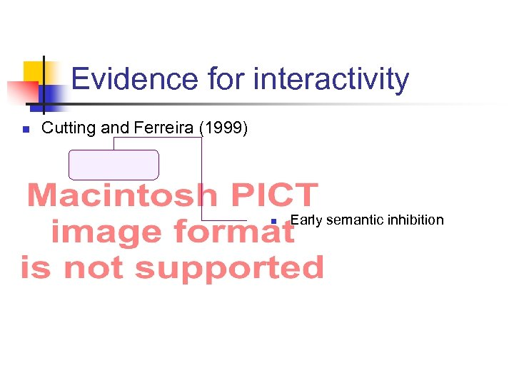 Evidence for interactivity n Cutting and Ferreira (1999) n Early semantic inhibition