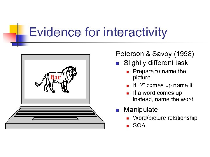 Evidence for interactivity Peterson & Savoy (1998) n Slightly different task n liar n