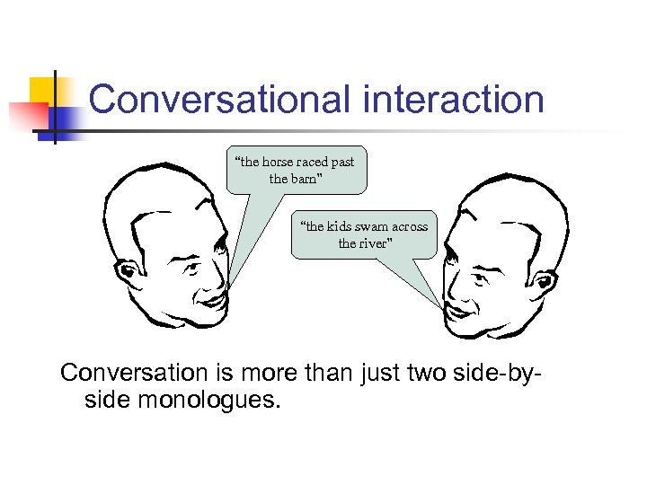 """Conversational interaction """"the horse raced past the barn"""" """"the kids swam across the river"""""""