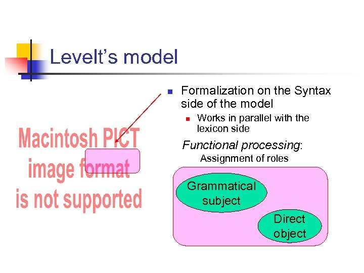 Levelt's model n Formalization on the Syntax side of the model n Works in