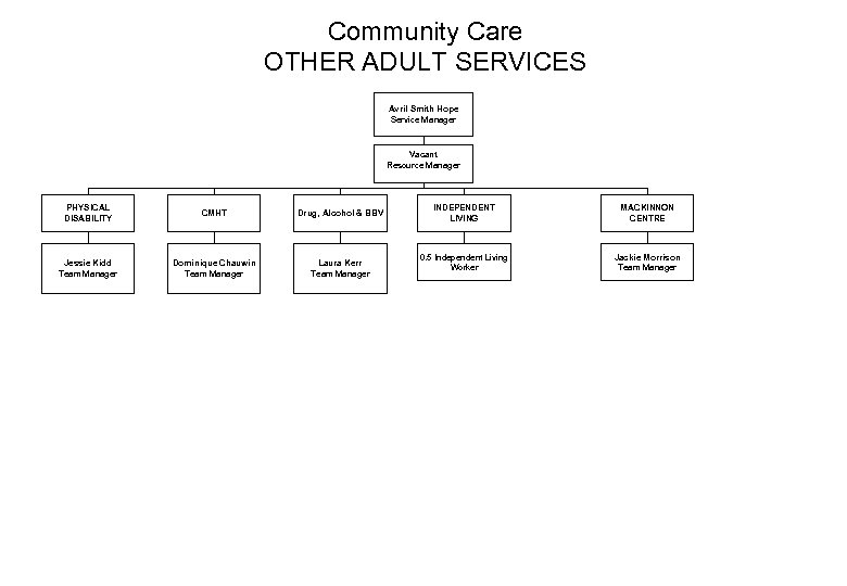 Community Care OTHER ADULT SERVICES Avril Smith Hope Service Manager Vacant Resource Manager PHYSICAL