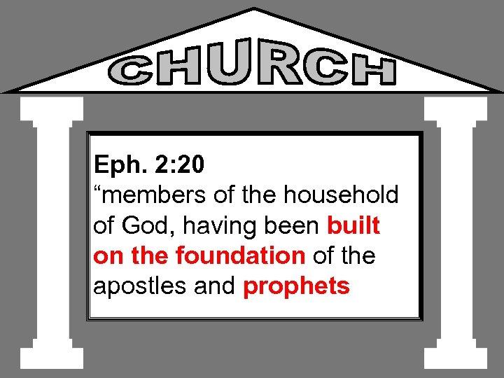 "Eph. 2: 20 ""members of the household of God, having been built on the"